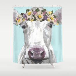 Cute Cow Up Close, Flower Crown Cow Shower Curtain