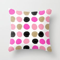 Finley - Abstract colorful brushstroke dots in gold and pinks Throw Pillow