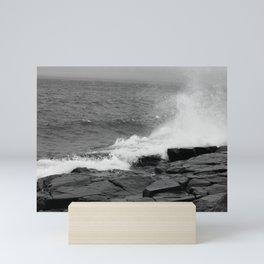 Exciting waves crashing on a rocky shore Mini Art Print