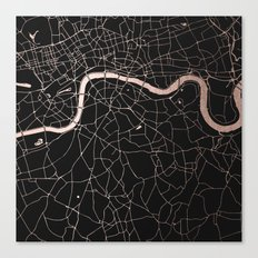 London Black on Rosegold Street Map Canvas Print