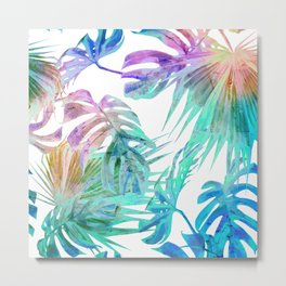Simply Palm Leaves in Hologram Island Metal Print