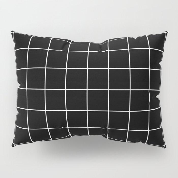 Grid Line Stripe Black and White Minimalist Geometric Kissenbezug