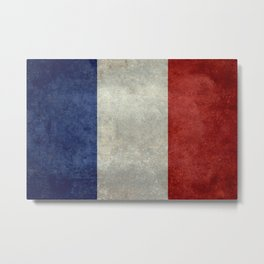 Flag of France, vintage retro style Metal Print