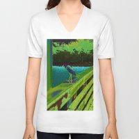 matisse V-neck T-shirts featuring Heron Matisse by Ellen Turner