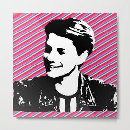 jace norman print art pink stripe Metal Print