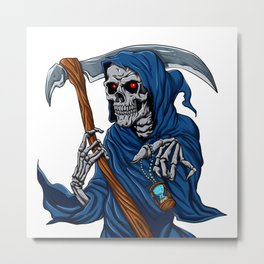 Reaper grim with Hourglass - ghost skull - black and white Metal Print