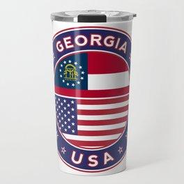 Georgia, Georgia t-shirt, Georgia sticker, circle, Georgia flag, white bg Travel Mug