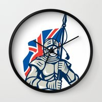 british flag Wall Clocks featuring Knight British Flag Retro by patrimonio