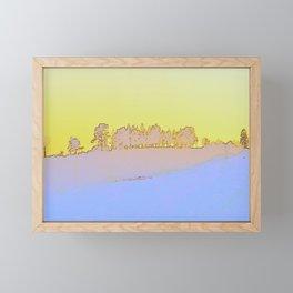 Grove of trees in periwinkle and lemon Framed Mini Art Print