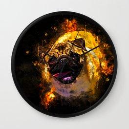 hungry pug dog splatter watercolor Wall Clock
