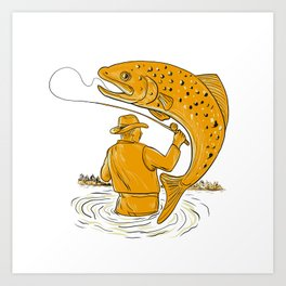 Fly Fisherman Reeling Trout Drawing Art Print