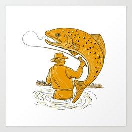 Fly Fisherman Reeling Trout Drawing Art Print