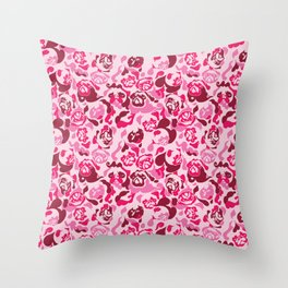 Pug Camouflage Pink Throw Pillow