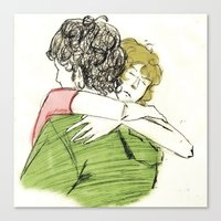 les mis Canvas Prints featuring ExR Hug les mis by Pruoviare