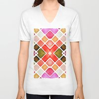 watercolor V-neck T-shirts featuring WATERCOLOR by Monika Strigel