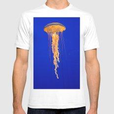 He moves from point to point with as little uproar as a jellyfish. --Plum MEDIUM Mens Fitted Tee White