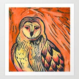 Orange owl lino print, bird of prey lino print Art Print