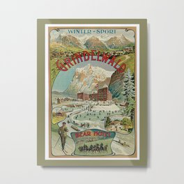 Vintage Grindelwald Swiss winter sport travel advert Metal Print