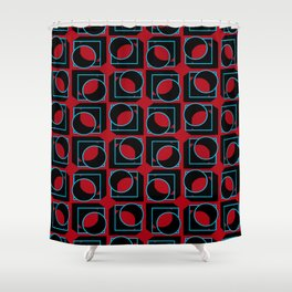 Tubes in Cubes on Red Shower Curtain