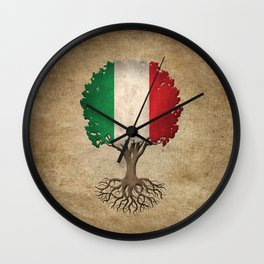 Vintage Tree of Life with Flag of Italy Wall Clock