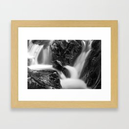 Shelving Rock Stream - Black & White Framed Art Print