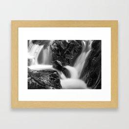 Shelving Rock Stream - Black & White Framed Art Print