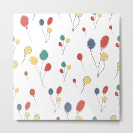 Seamless Cute Pattern with colorful air Balloons. Scandinavian Style Metal Print