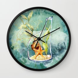 Watercolor Under Sea Collection: Shells in a Bottle Wall Clock