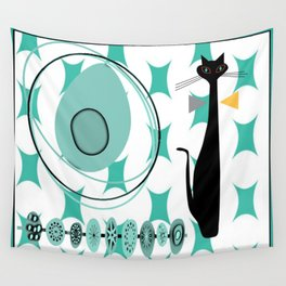 Mid-Century Modern Atomic Art - Teal - Cat Wall Tapestry