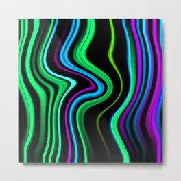 Abstract Waved Color Lines Metal Print