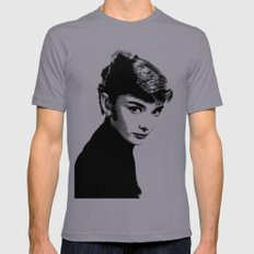 Audrey Hepburn Black and white SMALL Slate Mens Fitted Tee