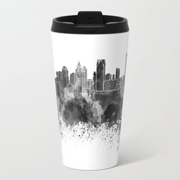 Detroit skyline in black watercolor Travel Mug