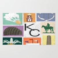 kansas city Area & Throw Rugs featuring Kansas City Landmark Print by Jenna Davis Designs
