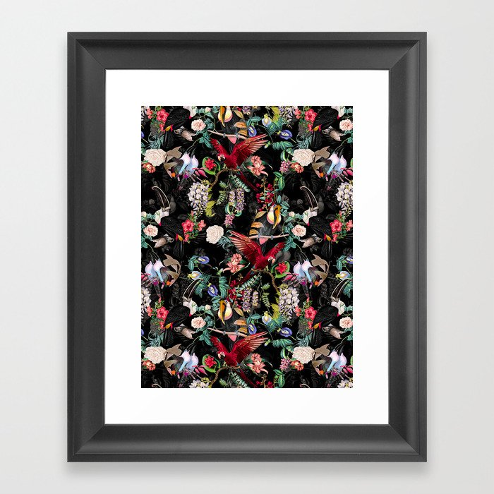 Floral and Birds IX Framed Art Print