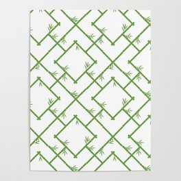 Bamboo Chinoiserie Lattice in White + Green Poster