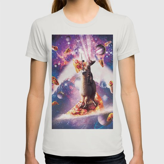 Laser Eyes Space Cat Riding On Surfing Llama Unicorn T Shirt By