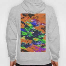 psychedelic splash painting abstract texture in brown green blue yellow pink Hoody