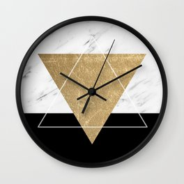 Golden marble deco geometric Wall Clock