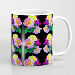 Rosa Yellow Roses on Black Pattern Coffee Mug