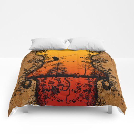 Trees and birds  Comforters