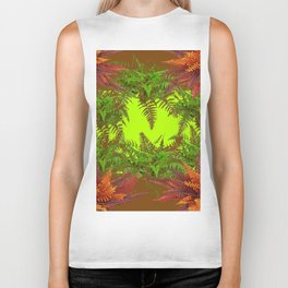 DECORATIVE GOLDEN BROWN FERN GARDEN ART Biker Tank
