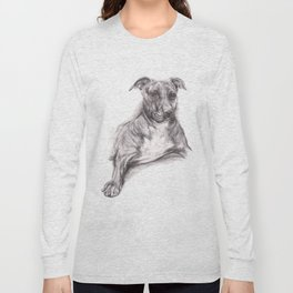 Pit Bull Portrait in Charcoal Long Sleeve T-shirt
