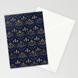 Elegant Fleur-de-lis pattern - Gold and deep blue Stationery Cards