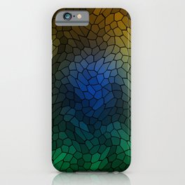 Volumetric texture of pieces of light blue glass with a dark mysterious mosaic. iPhone Case