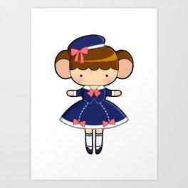 Sailor Lolita Monkey Art Print