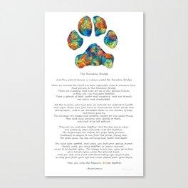 Rainbow Bridge Poem With Colorful Paw Print by Sharon Cummings Canvas Print
