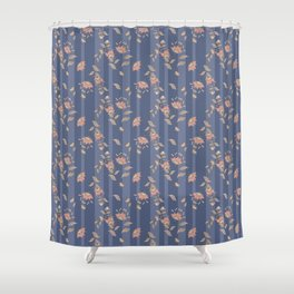 Retro . Floral pattern on a blue striped background . Shower Curtain
