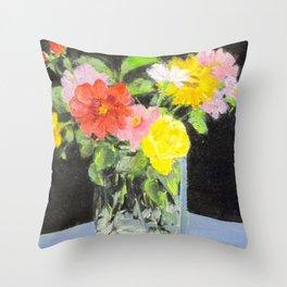 mixed summer flower bouquet Throw Pillow