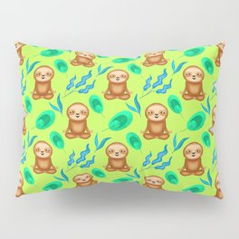 Funny cute happy cross-legged meditating relaxed chilling sloths and tropical rainforest exotic gree Pillow Sham