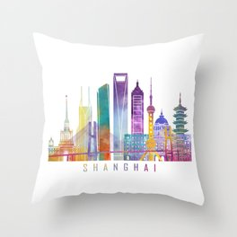 Shanghai skyline landmarks in watercolor Throw Pillow